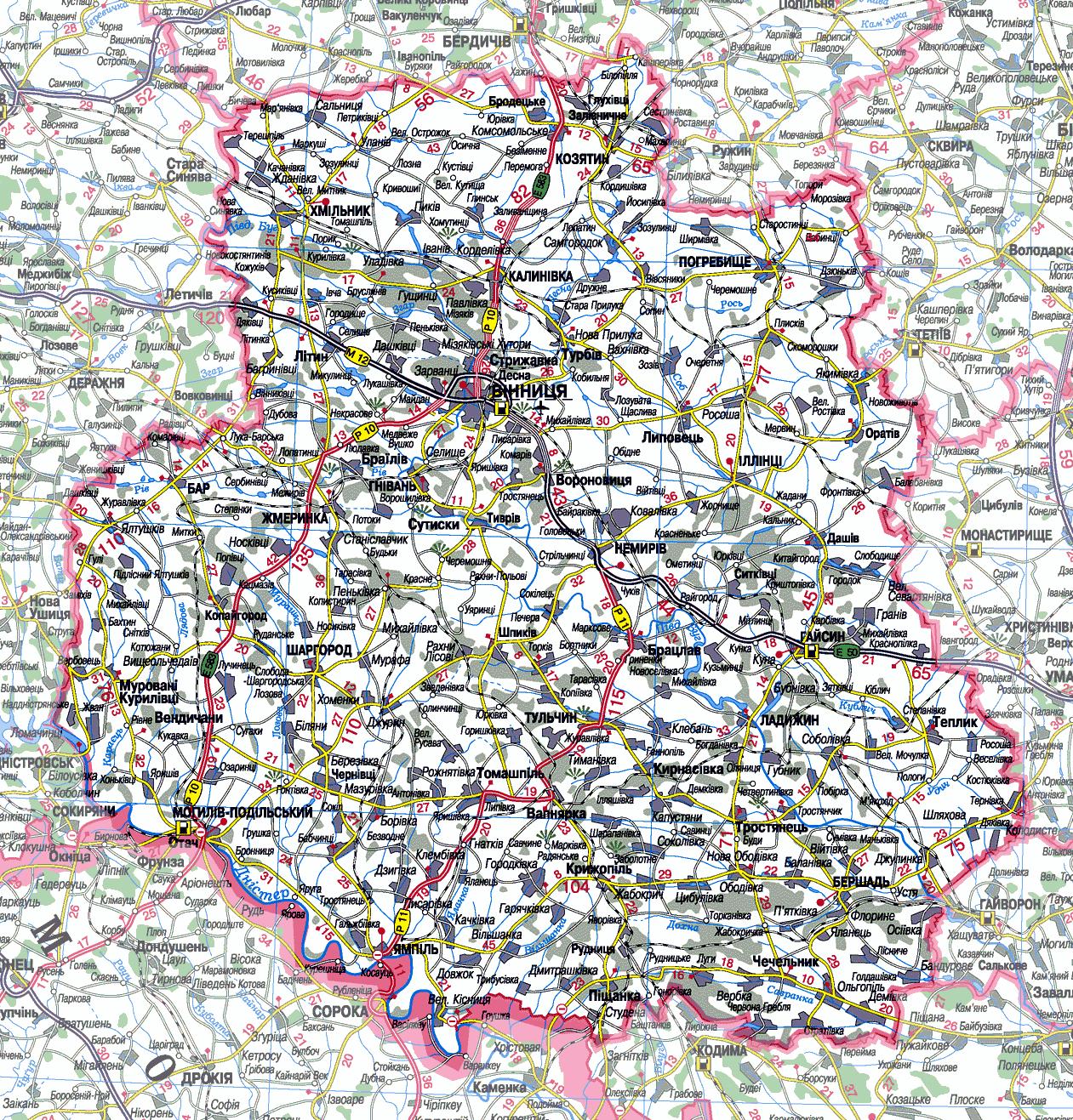 Карта Винницкой области подробная