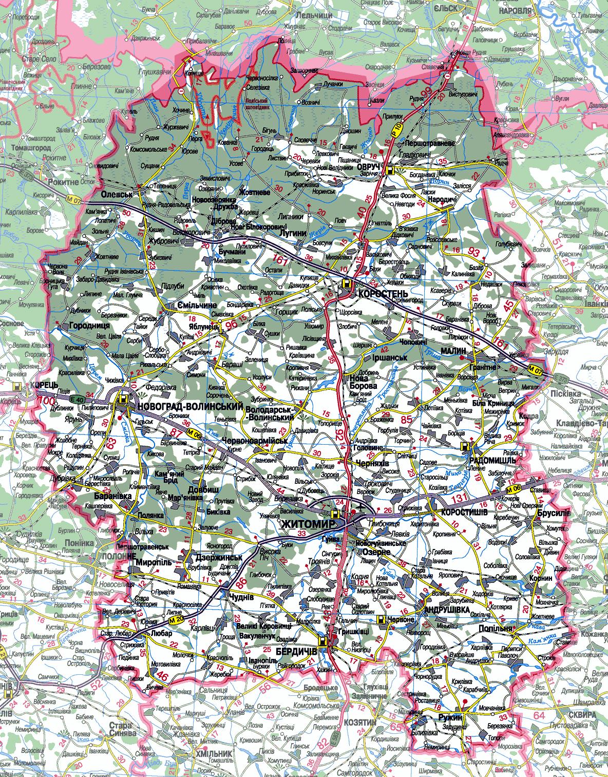 Карта Житомирской области подробная