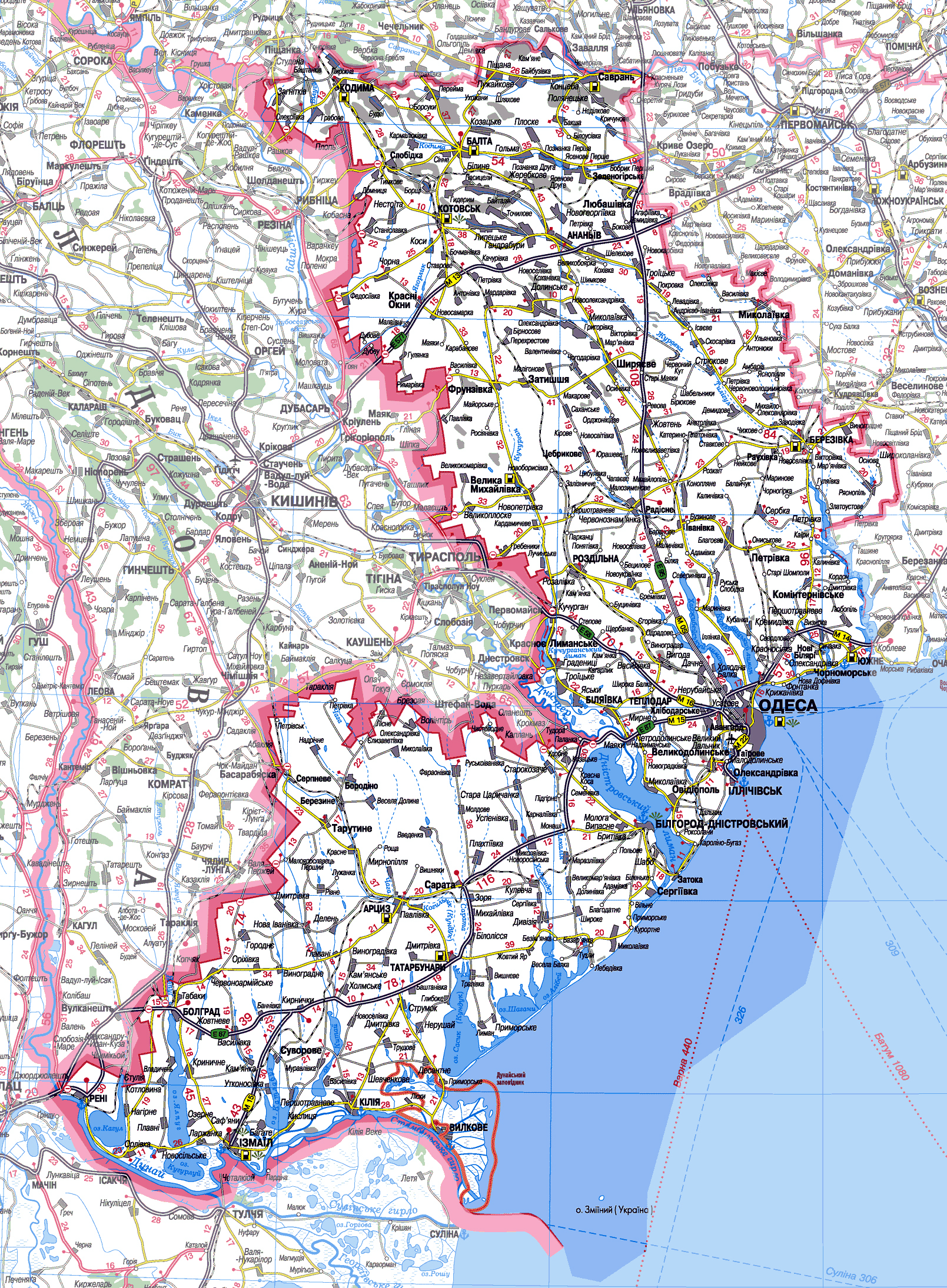 Карта Одесской области